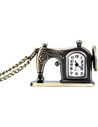 Wildlead Retro - Reloj de Bolsillo con Cadena de Collar, diseño de máquina de Coser