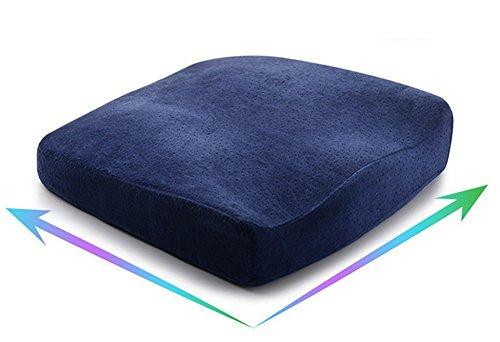 AMDZ Memory-Schaum Stuhlkissen Sitzauflage Fördert Die Wirbelsäulen Ausrichtung Und Lindert Rückenschmerzen Beim Sitzen Ideal Für Bürostuhl, Autositz Und Wheelchair Gesundheit!,Blue