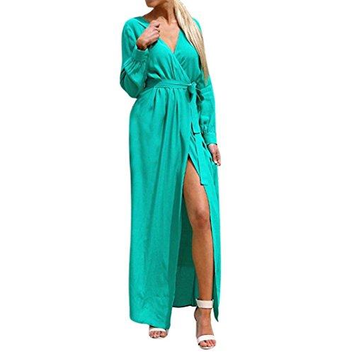 TIREOW-Damen Kleider Sommer Herbst Locker Langarm Basic V-Ausschnitt Mode mit Gürtel Beiläufig Maxi Kleid (Grün, XL)