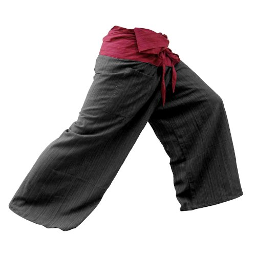 2-TONE-Thai-Fisherman-Pants-Yoga-Trousers-FREE-SIZE-Plus-Size-Cotton-Drill-Striped-Rustic-Red-and-Charcoal