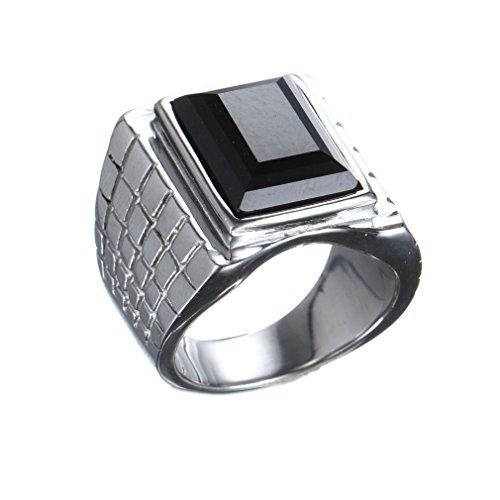 OAKKY Herren Edelstahl Europa und Amerika Simple Square Edelstein Faszinierend Ring Silber Schwarz Größe 60 (19.1)