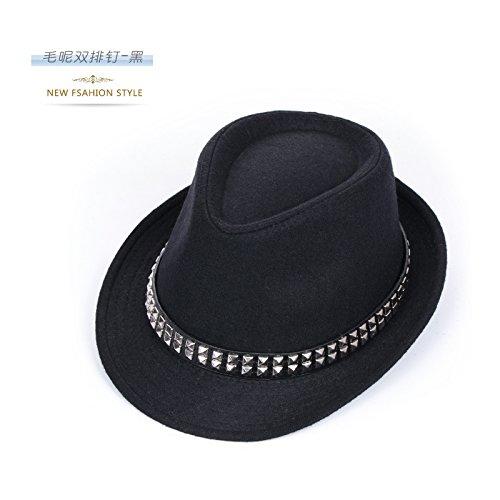 DMXY-Hats men's furry peu Joker Hat solid color gentleman Hat woman retro jazz performance Cap d'Angleterre caps Double nailed black