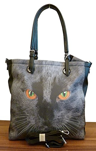 handtasche-shopper-leder-katze-cat-schwarz-neu