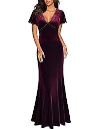 Miusol Damen Spitzen Velvet Kleid Vintage Samtkleid Elegant Brautjungfer  Abendkleider 5af4156b8f