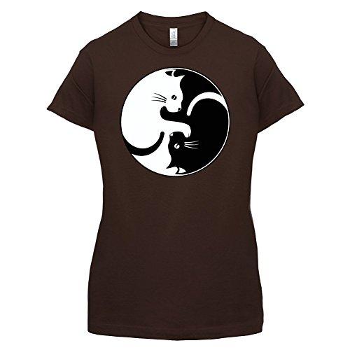 Yin Yang Katze - Damen T-Shirt - 12 Farben Dunkles Schokobraun
