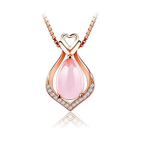 Natural pink crystal drop pendant/ Furong jade necklace-A