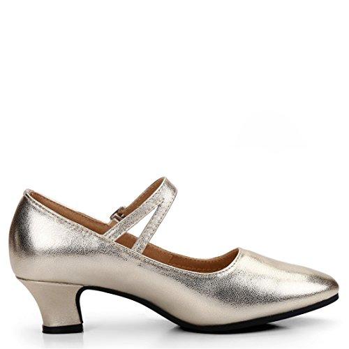 Wxmddn Scarpe da ballo latino femminile scarpe da danza dorata adulte scarpe da ballo in pelle morbida da sole da 3,5 cm Oro 3.5cm outdoor