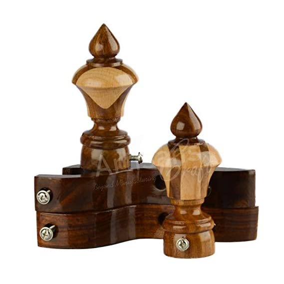Artisans Craft Curtain Bracket Wooden-Curtain Rod Ends Finials Caps with Wall Support (Brown & Beige)-Set of 2