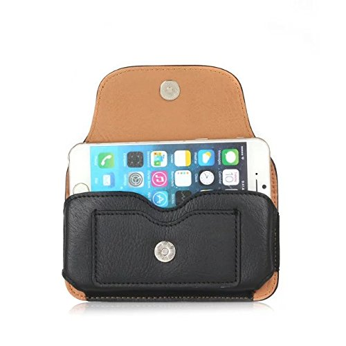 iPhone Case Cover Rhino Texture Motif Horizontal Flip Case Belt Case Pouch Bag Pour Samsung Mobile Apple IPhone ( Color : Black , Size : 6.3''(9.5*16.5cm) ) Black