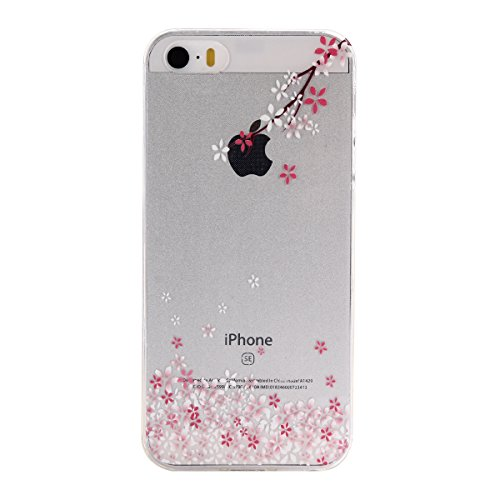 Apple iPhone 5 5G 5S SE Coque, Voguecase TPU avec Absorption de Choc, Etui Silicone Souple Transparent, Légère / Ajustement Parfait Coque Shell Housse Cover pour Apple iPhone 5 5G 5S SE (fleur colorée fleurs de cerisier-F