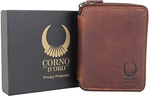 Damen Leder Geldbörse mit Reißverschluss, Herren Geldbeutel RFID Schutz, Vintage Portemonnaie in Geschenkbox braun Corno d´ORO 1406