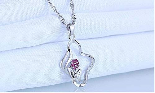 LXIANGP 925 Sterling Silber Halskette Mikro-Set Rubin Blume Schmetterling Kristall Anhänger Damen Halskette Anhänger 26mm * 16mm