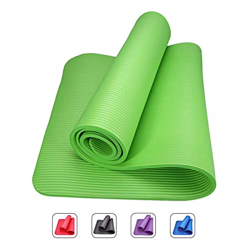 Romix tappetino yoga antiscivolo premium, 10 mm ecocompatibile tappeto esercizi fitness per casa e in viaggio, alto spessore e densità memory foam, non tossico tappetini palestra - verde
