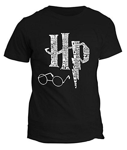 T-Shirt im Stil von Harry Potter, Zauberspruch, Magie, Zauberstab, Brille, Kelch, Stein, Symbol, alle Größen für Herren, Damen und Kinder, fshP90NL, Schwarz, fshP90NL Large -