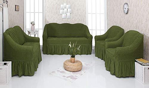 Mixibaby Sofabezug husse Sesselbezug Sitzbezug Sesselüberwurf Stretchhusse 3+2+1+1, Farbe:tannengrün