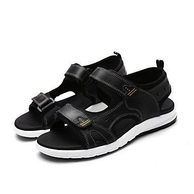 Herren Sandalen Komfort im Sommer Paar Schuhe hellen Sohlen Rindsleder Outdoor Casual flachem Absatz Magic Tape Wasser Schuhe Black