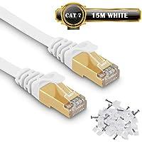 Câble Ethernet CAT 7 Câble Réseau 10Gbps avec 650 MHz - Fiches RJ45 - U/FTP Blindage - Compatible cat5/cat5e/cat6 - pour Routeur/Modem/TV Box/PC/Switch etc. (15m/50ft, Blanc) - Avec des Cordon Clips