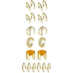 Finrezio 6 Pairs Boucles d'Oreilles Manchette en Acier Inoxydable Boucles d'Oreilles Faux Piercing Cartilage Or