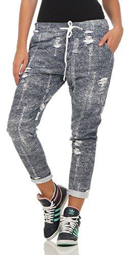 243 Damen Hose Freizeit Stoffhose elegante Boyfriendhose Baumwollhose mit destroyed Jeansmuster Jeans Print 36 38 40 Blau (Jeans-print-stoff)