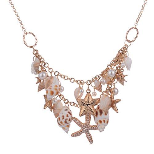 (Fenical Damen Perle Halskette mit Conch Seestern Anhänger Kette Halsschmuck Zubehör für Frauen Mädchen Strand Party Hochzeit (Golden))