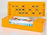 200 große Bingokarten für Senioren 15 aus 90 Zahlen (orange)