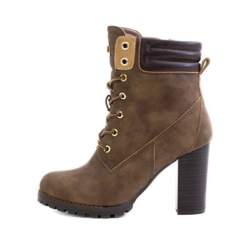 Marimo Damen Schnür Stiefel Stiefeletten Worker Boots mit Blockabsatz Khaki Milan