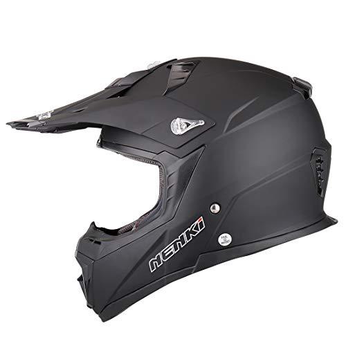 NENKI Motocross Helm NK-316 Cross DH Enduro Quad Helm für Herren und Damen mit ECE-Zulassung (Mattschwarz, L)