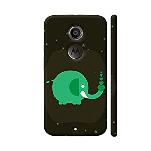 Colorpur Moto X2 Cover - Green Elephant With Stars Case