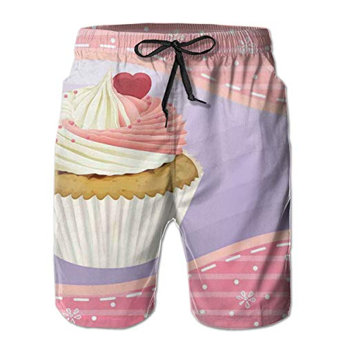 nks Beach Shorts,Yummy Cake with Creamy Topping Sprinkles and A Heart Between Pink Floral Borders,Quick Dry 3D Printed Drawstring Casual Summer Surfing Board Shorts XL ()