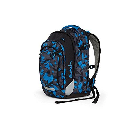 d99fc9c3acef5 Satch MATCH by Ergobag Blue Triangle 3-tlg. Set Schulrucksack + Sporttasche  + Schlamperbox inkl. Geodreieck - Wächst mit bis 180cm Körpergröße!