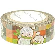 Cinta adhesiva decorativa washi cuadros oso dorado metálico Shinzi Katoh Japón