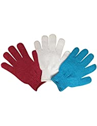 3-pack bain de luxe et douche gants de gommage exfoliant nylon Taille Gant exfoliant pour femmes (Gommage x 3) (Pack D)