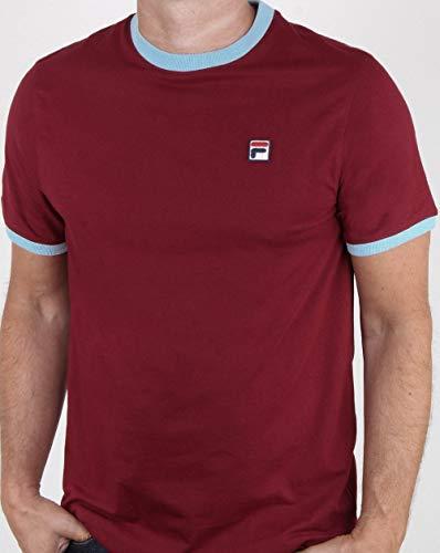 Fila Vintage Ringer T Shirt Claret - Sky M -