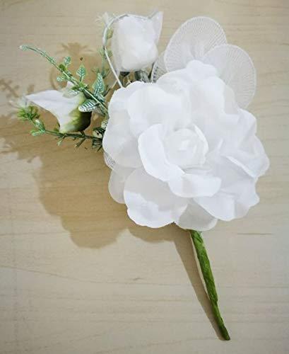 12 pezzi bouquet rosa media e bocciolo bianco con rami e racchette porta