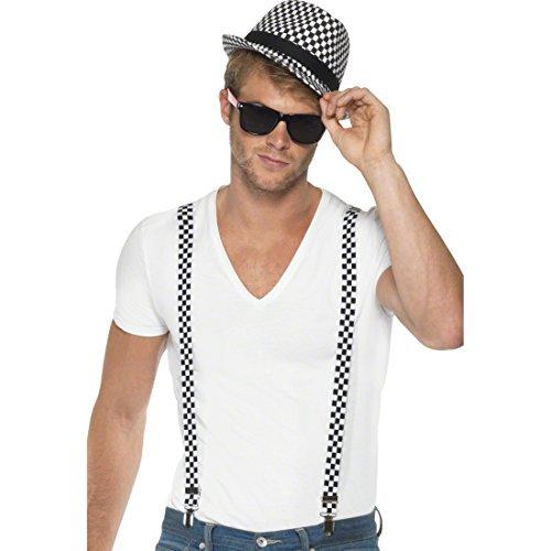 Ska Kostüm Set Hosenträger weiß-schwarz Ska Hut 50er Jahre Kostümset Faschingszubehör