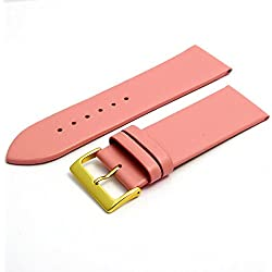 Fine Calf Leather Watch Strap Band 28mm Pink with Gilt (Gold Colour) Buckle. Free Spring Bars (Watch Pins)