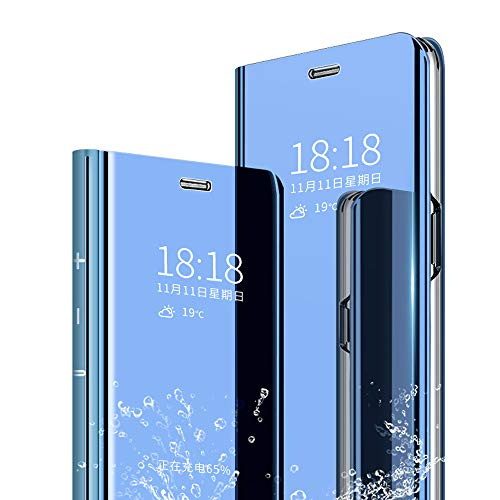 DAYNEW für Oppo Find X Hülle Handytasche,Oppo Find X Spiegel Hülle Schutzhülle,Slim Fit Mirror Make-Up Clear View Booklet Case Cover Etui für Oppo Find X-Blau