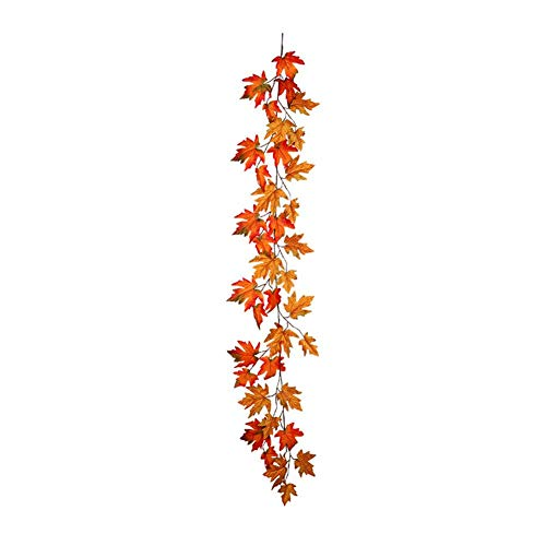 Ingeniously Anhänger Simulat Maple Leaf Herbst Garland Kunstseide Herbst Maple Leaf Garland Herbst Hanging Vine Großhandel Home Party Zeremonie Dark Maple Leaf Cane für Halloween