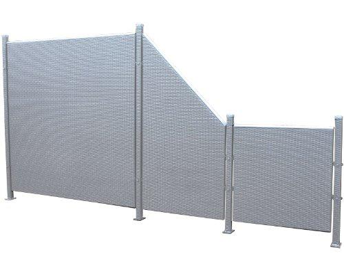 Prime Tech Poly-Rattan Sichtschutz / Zaun, Set 7-teilig in anthrazit / grau