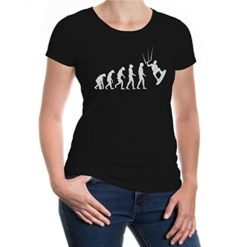 buXsbaum® Girlie T-Shirt The Evolution of kitesurfing Black-Silver