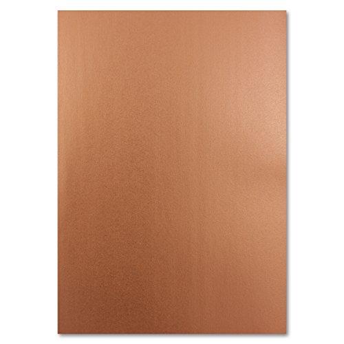 Metallic Papier DIN A4 21,0 x 29,7 cm | Kupfer-Matt Metallic | 50 Stück | glänzendes Bastelpapier 90 g/m² | Rückseite Weiß | Für Einladungen, Hochzeiten