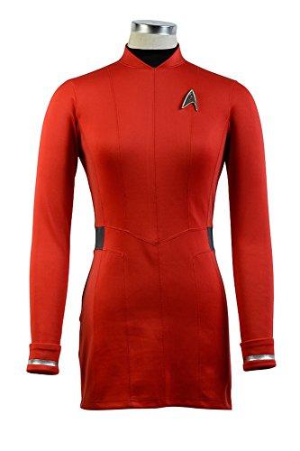 Star Trek Beyond Nyota Uhura Kleid Uniform Cosplay Costume Rot Weiblich (Weiblich Trek Kostüme Star)
