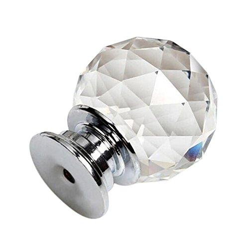 Chytaii Griff Knopf Moderne Schublade Schrank Schrank transparent Diamant im Glas Kristall mit 1Loch Silber/Gold Silber -