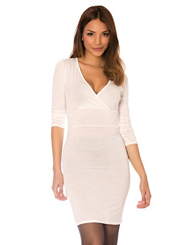 dmarkevous - Robe mi-longue blanche à manche longue et col cache coeur. Robe Légère Blanc