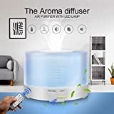 Tesco Round Remote Controlled Air Mist Humidifier Aroma Essential Oil Diffuser with Changing Mood Lights Tank Capacity of 500ml and Timer Function