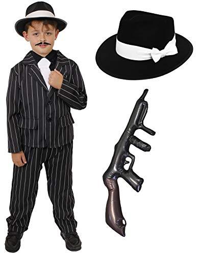 Kinder 1920's Gangster Fancy Kleid Kostüm-Schwarz Nadelstreifen Anzug + White Tie + schwarz Trilby Hat + aufblasbare Tommy Gun-Jungen (4-14Jahre) -