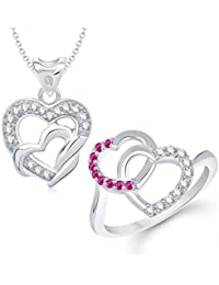 VK Jewels You & Me Heart Rhodium Plated Alloy CZ American Diamond Ring & Pendant Combo Set For Women [VKCOMBO1210R]