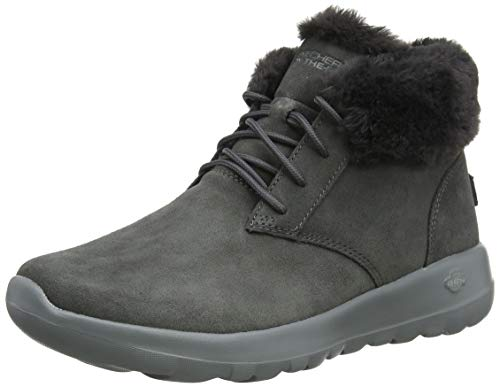 Skechers On The GO Joy-Lush, Botines para Mujer, Gris Charcoal Suede/Trim Charcoal, 36 EU