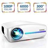 Vidéoprojecteur, WiMiUS 6000 Lumens Rétroprojecteur Full HD 1920 x 1080P Natif Vidéo Projecteur Soutien 4K Réglage Trapézoïdal 4D, HiFi Stereo SoundBar, LED avec VGA HDMI AV USB pour Home Cinéma PS4