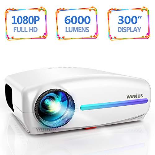 Vidéoprojecteur avec SoundBar, WiMiUS 6000 Lumens Rétroprojecteur Full HD 1920x1080P Natif Vidéo Projecteur Soutien 4K Son Dolby HiFi, Réglage Trapézoïdal 4D, avec VGA HDMI AV USB pour Home Cinéma PS4